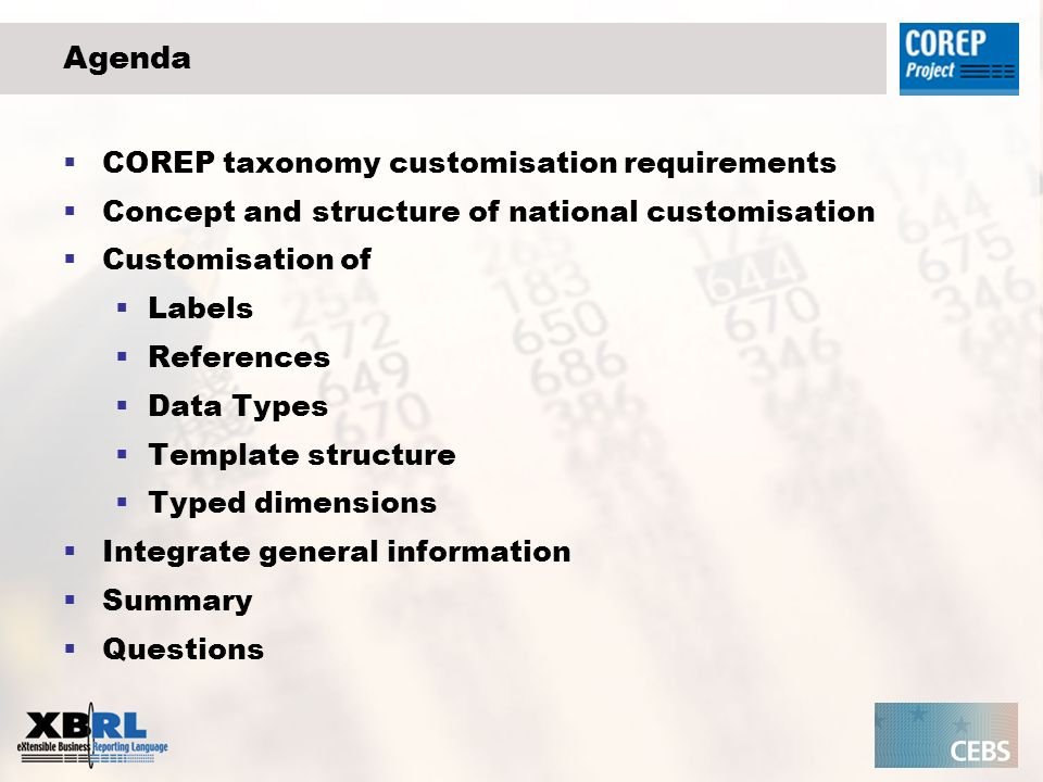 Add general information to the national taxonomy GCD Global Common Document (PWD) Purpose: - to cover common information which may typically be required in business reporting, - to represent this data in XBRL in a standard way, - to support interoperability and comparison between XBRL implementations around the world.