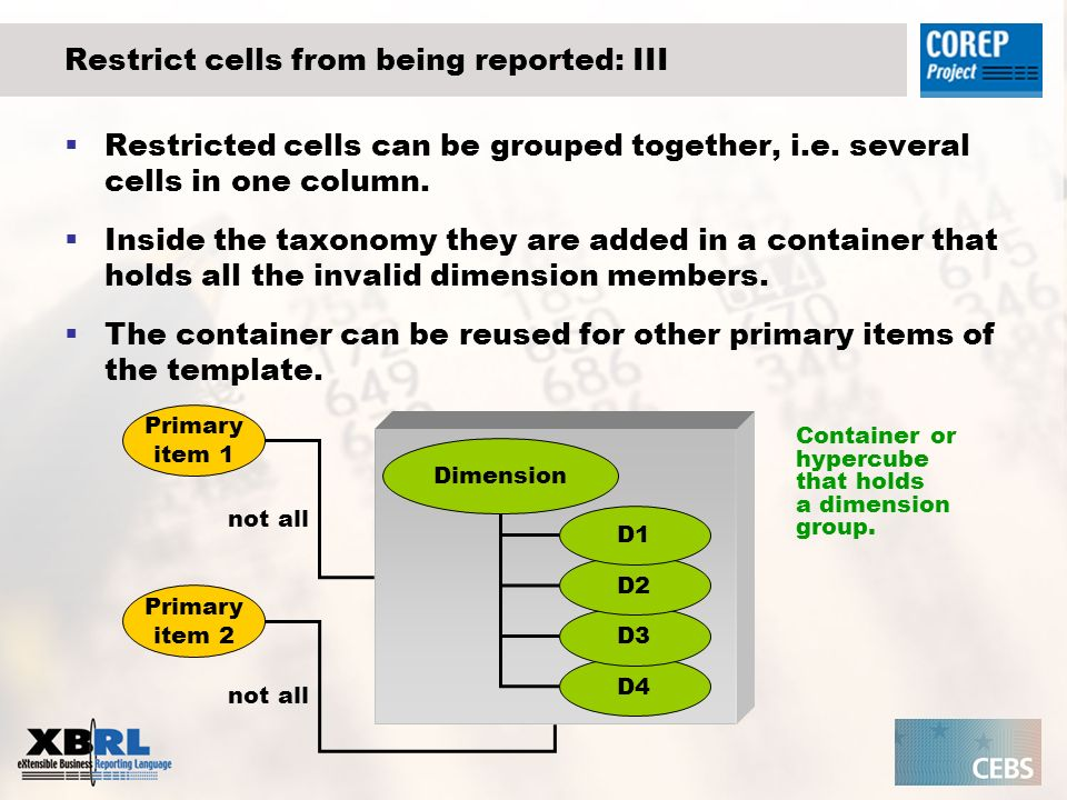 Restrict cells from being reported: III Restricted cells can be grouped together, i.e.