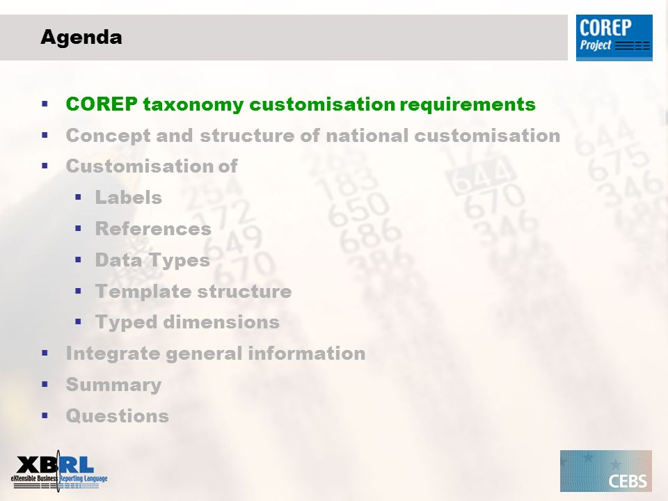 Add general information to the national taxonomy Use the GCD taxonomy of XBRL International that contains a huge amount of predefined items The core taxonomy provides basic elements and structures and a number of extension data type taxonomies which define particular sets of data, including elements representing countries and languages.