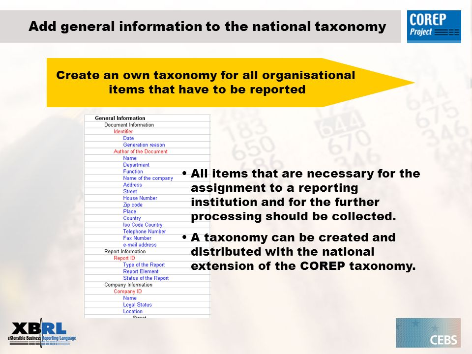 Add general information to the national taxonomy Create an own taxonomy for all organisational items that have to be reported All items that are necessary for the assignment to a reporting institution and for the further processing should be collected.