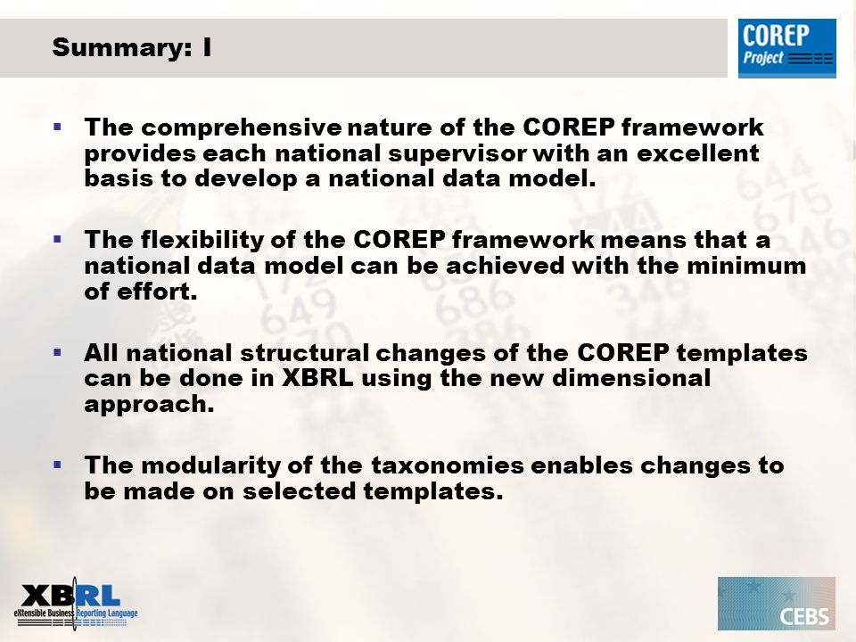 Summary: I The comprehensive nature of the COREP framework provides each national supervisor with an excellent basis to develop a national data model.