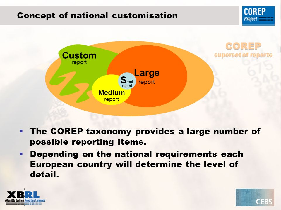 Concept of national customisation Large report Medium report S mall report Custom report COREP superset of reports The COREP taxonomy provides a large number of possible reporting items.