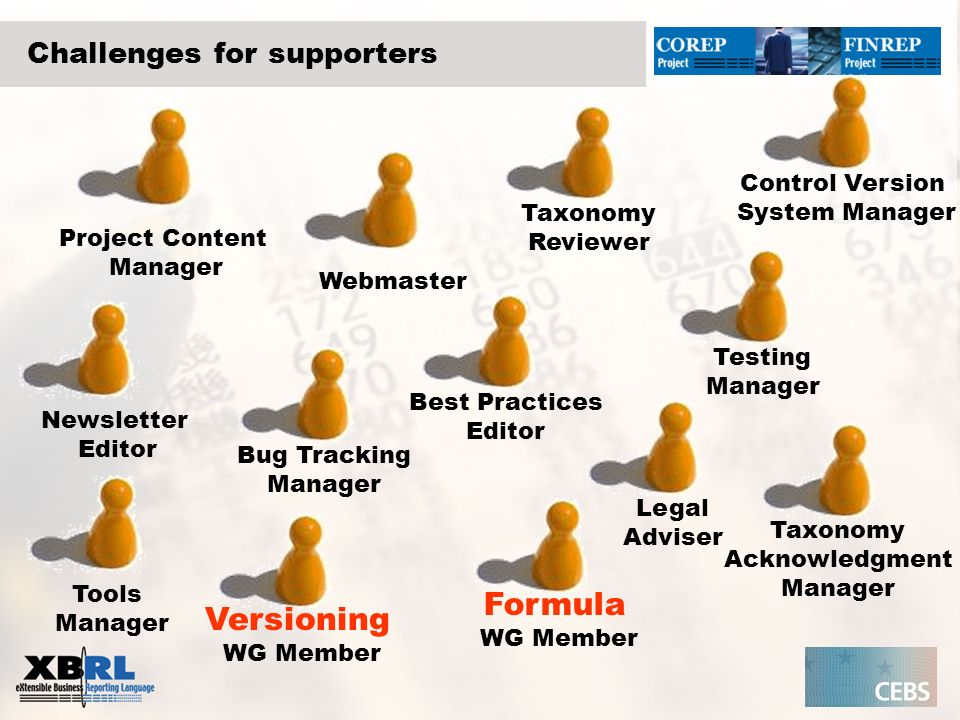 Challenges for supporters Project Content Manager Webmaster Newsletter Editor Legal Adviser Taxonomy Reviewer Testing Manager Best Practices Editor Bu