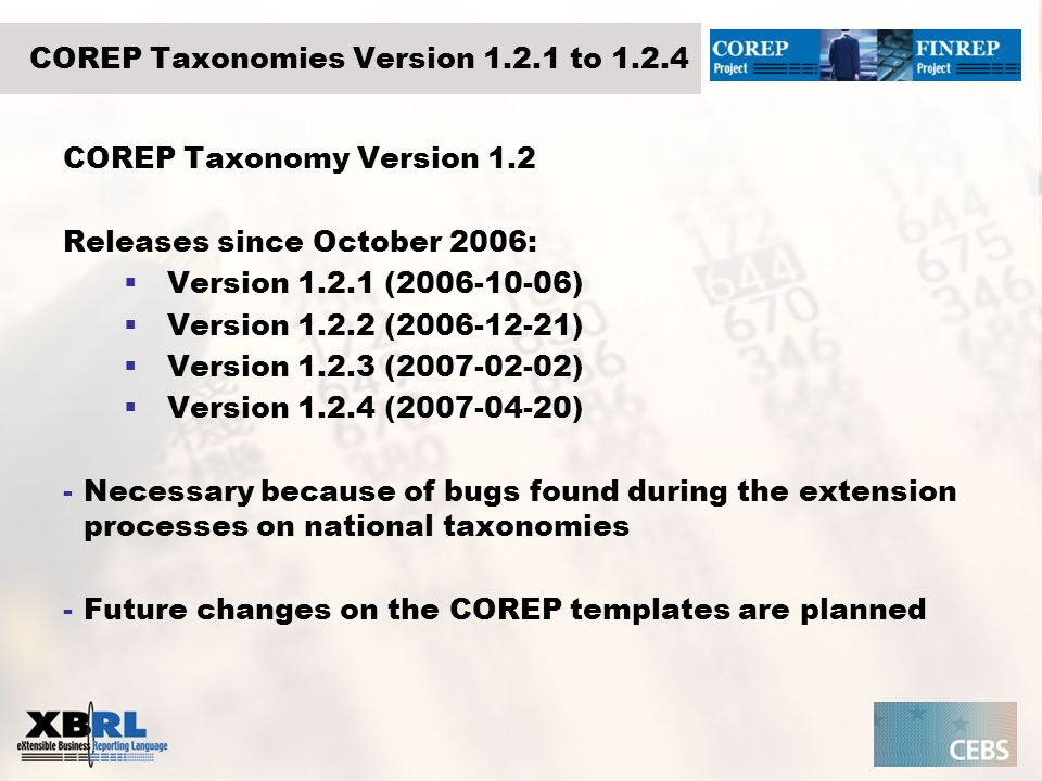 COREP Taxonomies Version 1.2.1 to 1.2.4 COREP Taxonomy Version 1.2 Releases since October 2006: Version 1.2.1 (2006-10-06) Version 1.2.2 (2006-12-21)