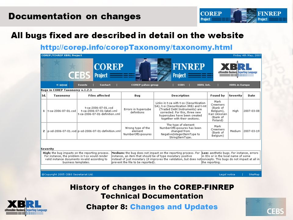 Documentation on changes All bugs fixed are described in detail on the website http://corep.info/corepTaxonomy/taxonomy.html History of changes in the
