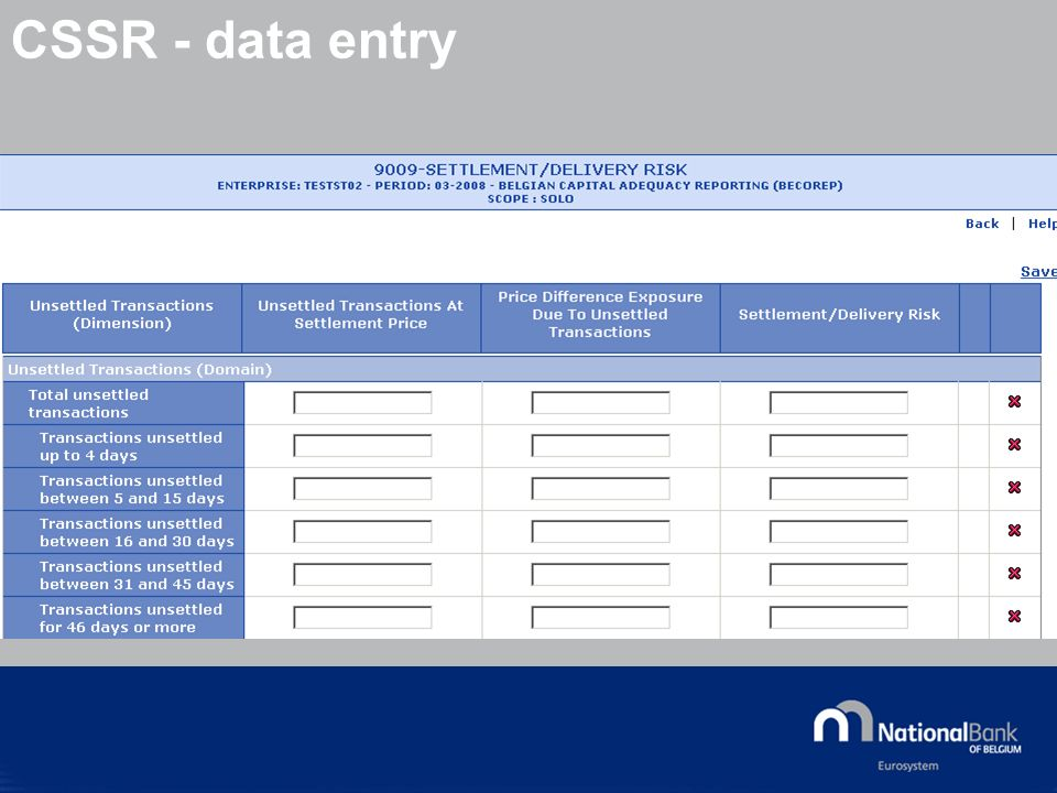 © National Bank of Belgium CSSR - data entry