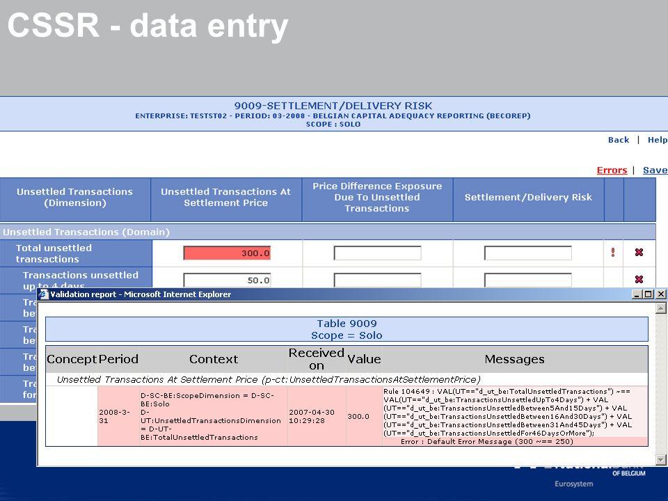 © National Bank of Belgium CSSR - data entry