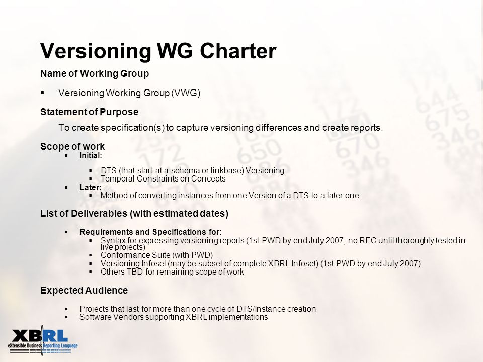 Versioning WG Charter Name of Working Group Versioning Working Group (VWG) Statement of Purpose To create specification(s) to capture versioning diffe