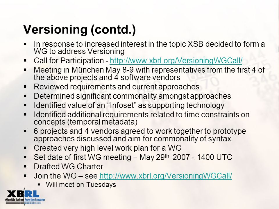 Versioning (contd.) In response to increased interest in the topic XSB decided to form a WG to address Versioning Call for Participation - http://www.