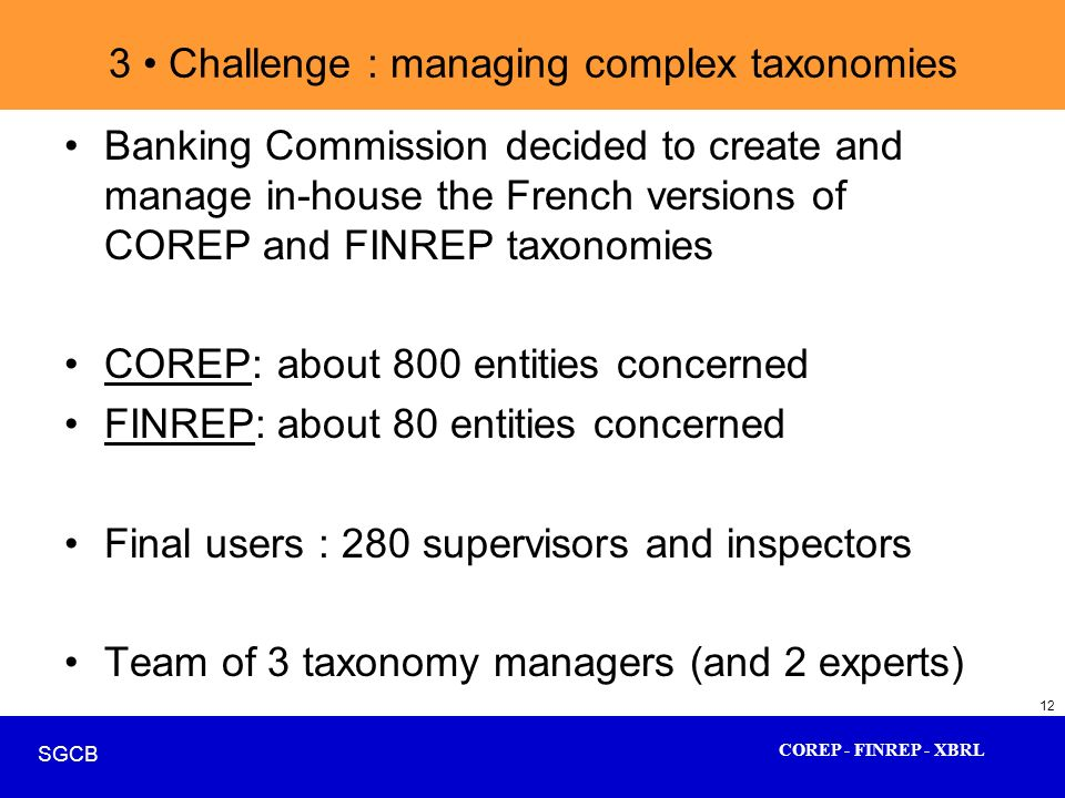 COREP - FINREP - XBRL SGCB 12 3 Challenge : managing complex taxonomies Banking Commission decided to create and manage in-house the French versions o