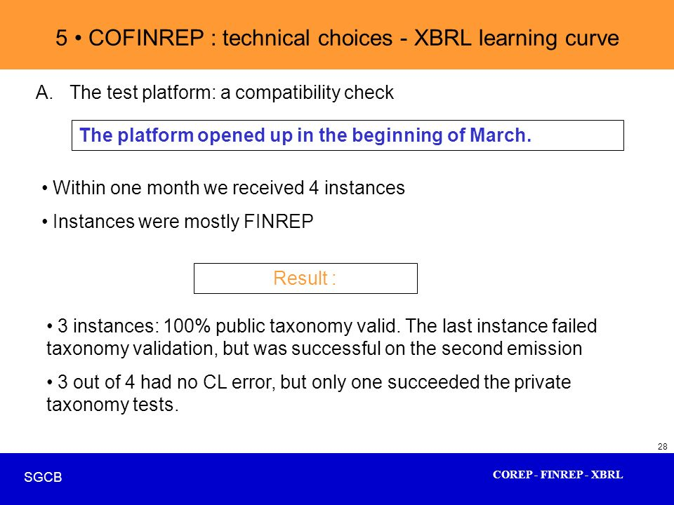 COREP - FINREP - XBRL SGCB 28 5 COFINREP : technical choices - XBRL learning curve A.The test platform: a compatibility check The platform opened up i