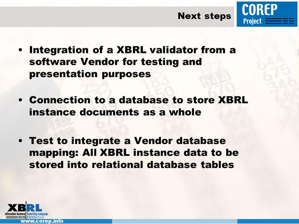 Next steps Integration of a XBRL validator from a software Vendor for testing and presentation purposes Connection to a database to store XBRL instance documents as a whole Test to integrate a Vendor database mapping: All XBRL instance data to be stored into relational database tables