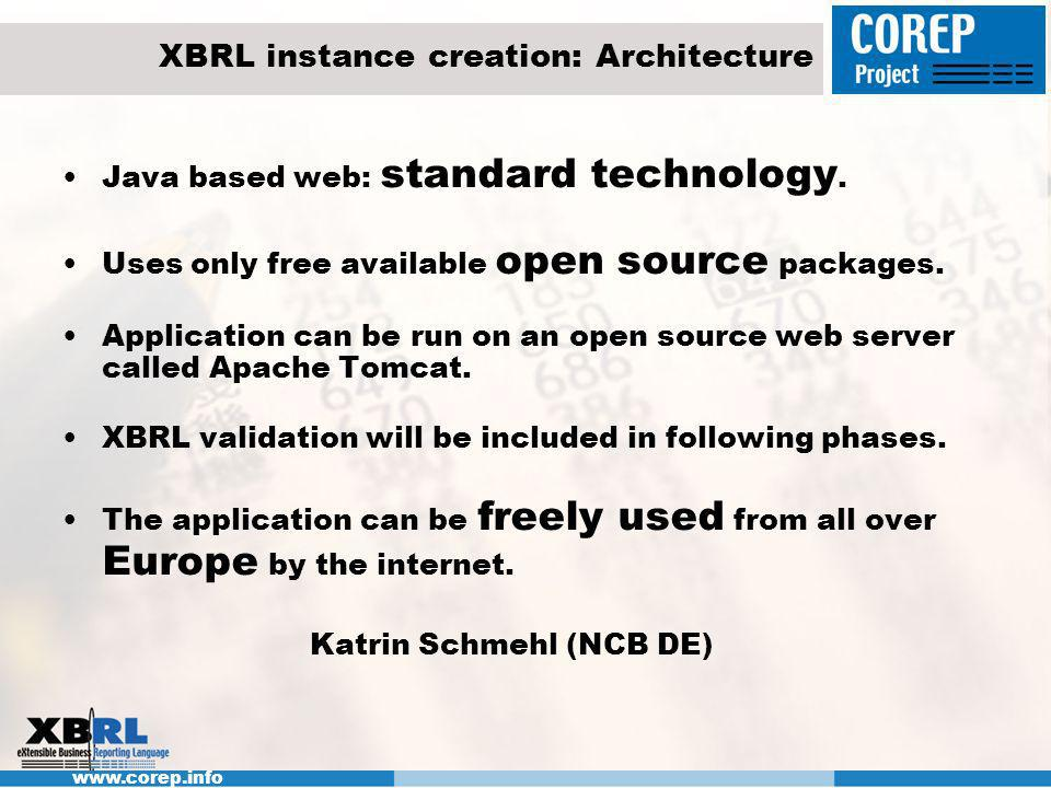 www.corep.info XBRL instance creation: Architecture Java based web: standard technology. Uses only free available open source packages. Application ca