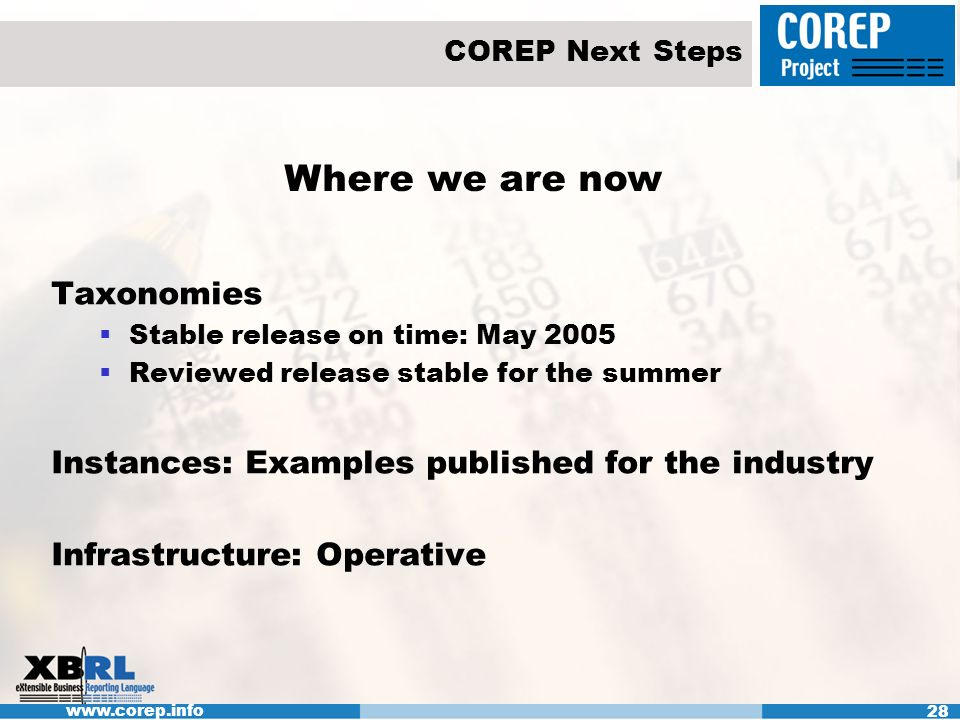 www.corep.info 28 COREP Next Steps Where we are now Taxonomies Stable release on time: May 2005 Reviewed release stable for the summer Instances: Examples published for the industry Infrastructure: Operative