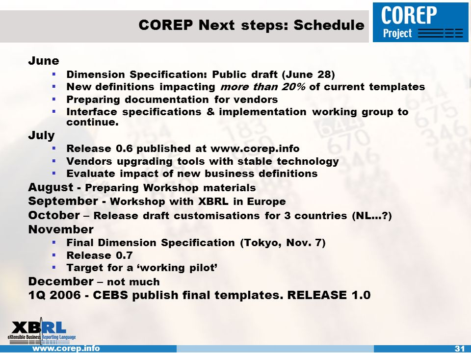 www.corep.info 31 COREP Next steps: Schedule June Dimension Specification: Public draft (June 28) New definitions impacting more than 20% of current templates Preparing documentation for vendors Interface specifications & implementation working group to continue.