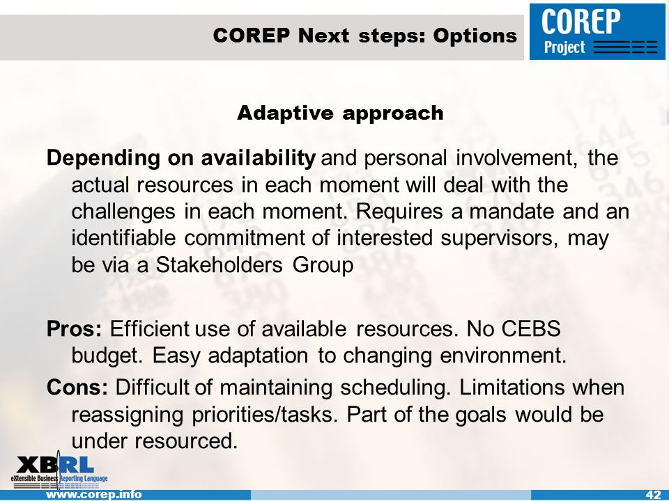www.corep.info 42 COREP Next steps: Options Adaptive approach Depending on availability and personal involvement, the actual resources in each moment will deal with the challenges in each moment.