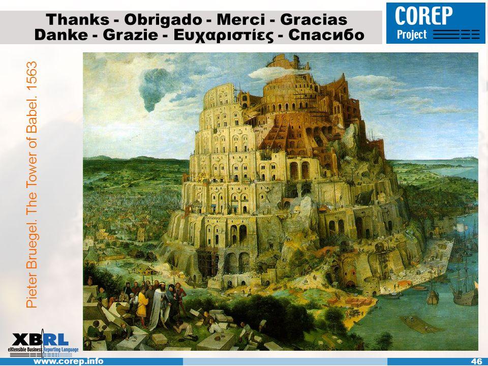 www.corep.info 46 Thanks - Obrigado - Merci - Gracias Danke - Grazie - Ευχαριστίες - Спасибо Pieter Bruegel. The Tower of Babel. 1563