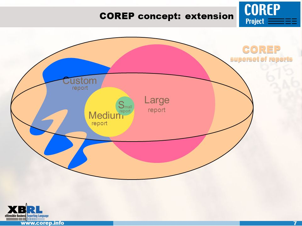 www.corep.info 7 COREP concept: extension Large report Medium report S mall report Custom report COREP superset of reports