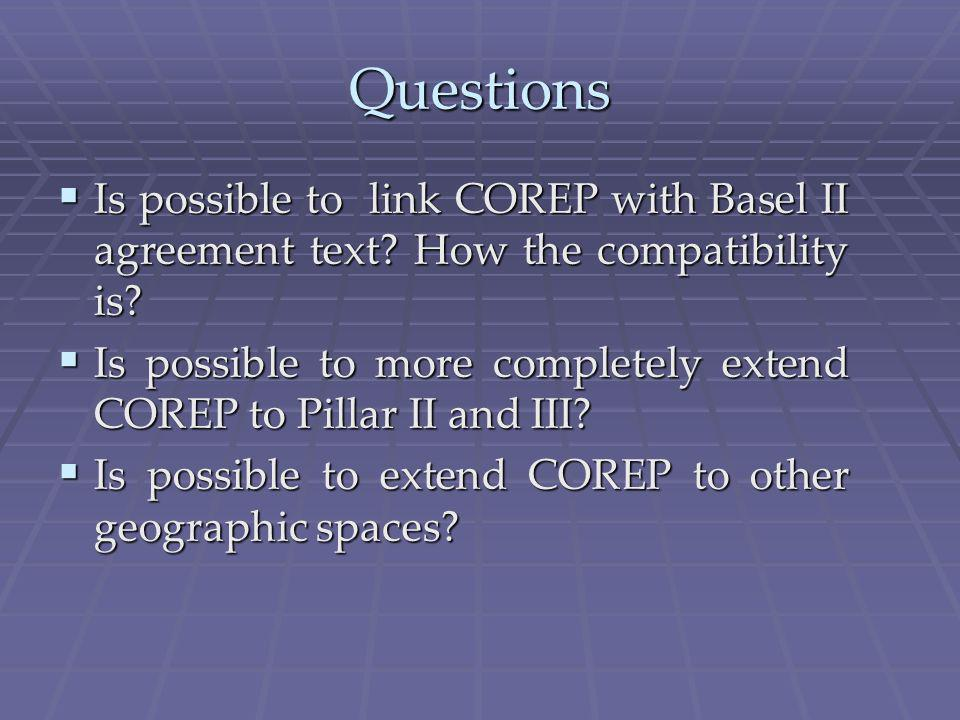 Questions Is possible to link COREP with Basel II agreement text.