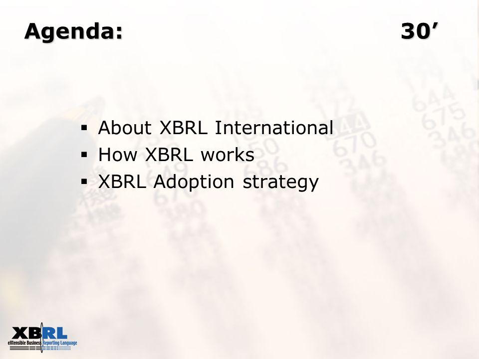 Agenda:30 About XBRL International How XBRL works XBRL Adoption strategy
