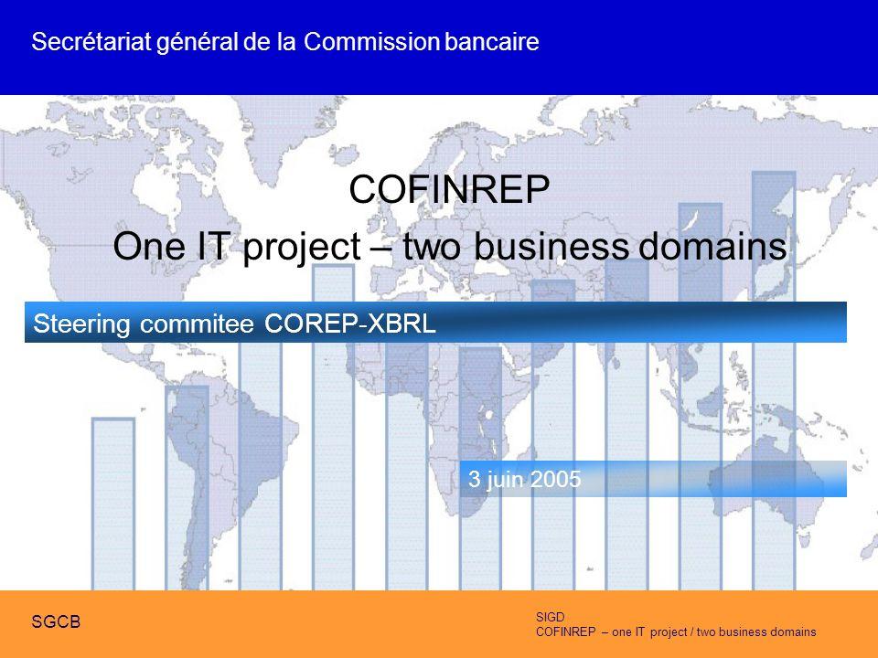 SIGD COFINREP – one IT project / two business domains SGCB COFINREP One IT project – two business domains Steering commitee COREP-XBRL 3 juin 2005 Secrétariat général de la Commission bancaire SIGD COFINREP – one IT project / two business domains SGCB