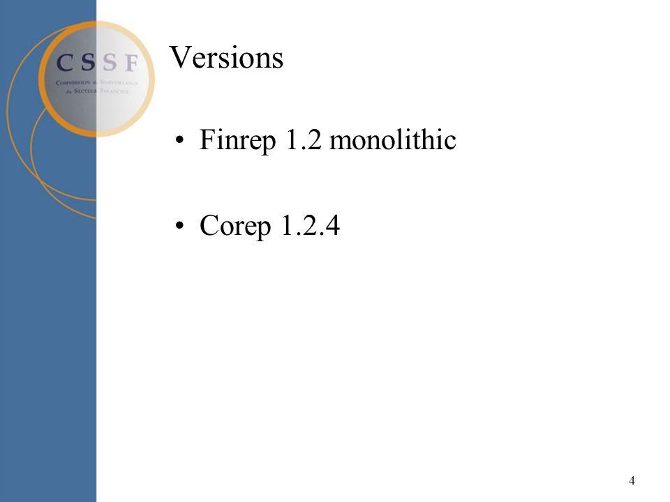 4 Versions Finrep 1.2 monolithic Corep 1.2.4