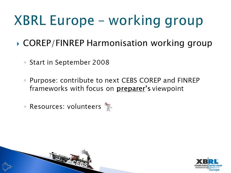 COREP & FINREP 2006-2007 frameworks Functional frameworks (MS Excel) Technical frameworks (XBRL) Adoption rate Implementation variances National discretions Lessons learned Current status