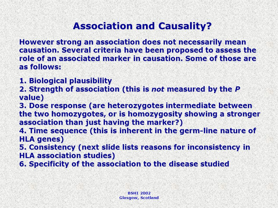 BSHI 2002 Glasgow, Scotland Association and Causality.