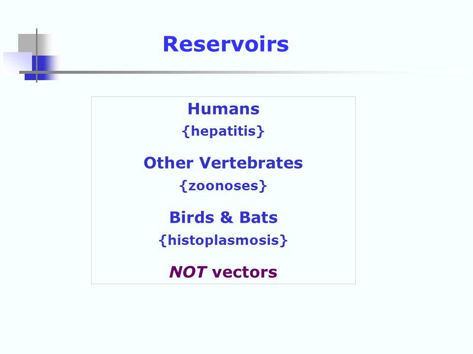 Humans {hepatitis} Other Vertebrates {zoonoses} Birds & Bats {histoplasmosis} NOT vectors Reservoirs