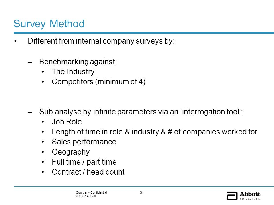 31Company Confidential © 2007 Abbott Survey Method Different from internal company surveys by: –Benchmarking against: The Industry Competitors (minimu