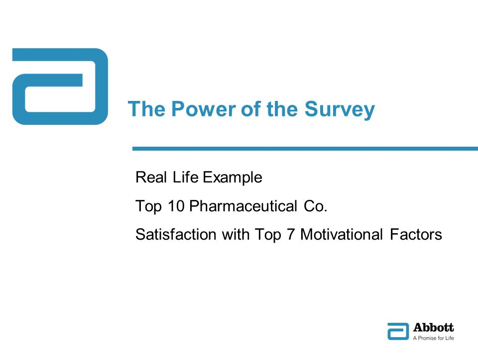 The Power of the Survey Real Life Example Top 10 Pharmaceutical Co. Satisfaction with Top 7 Motivational Factors