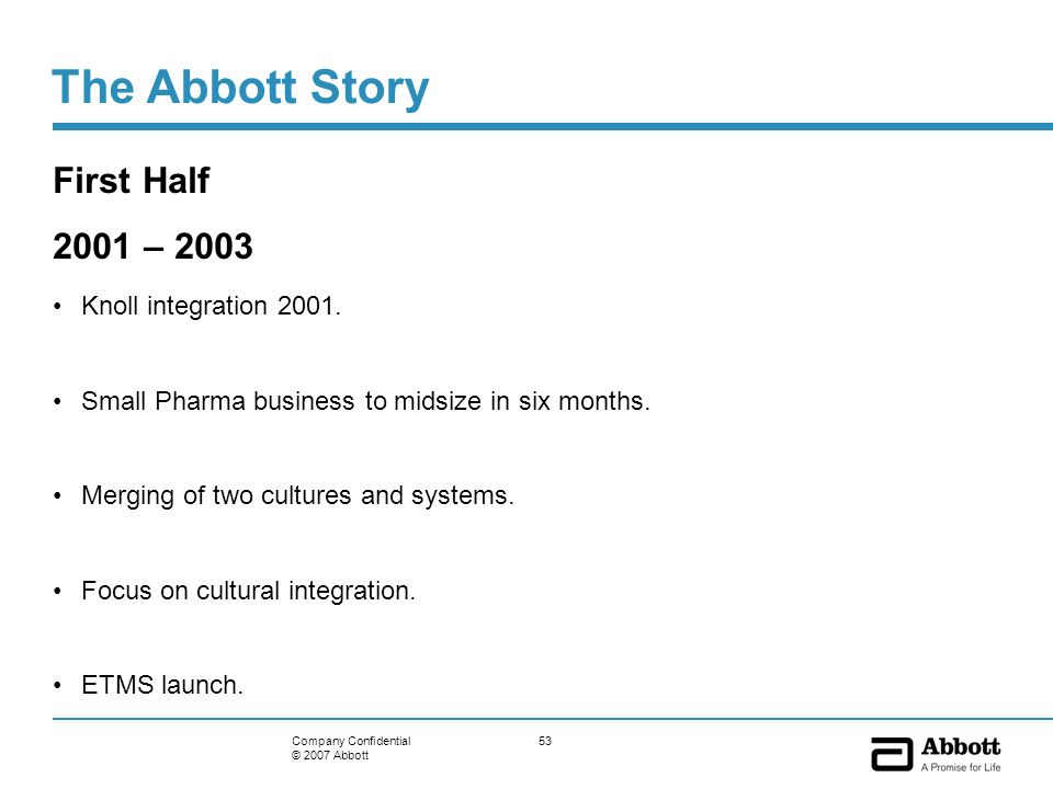 53Company Confidential © 2007 Abbott The Abbott Story First Half 2001 – 2003 Knoll integration 2001. Small Pharma business to midsize in six months. M