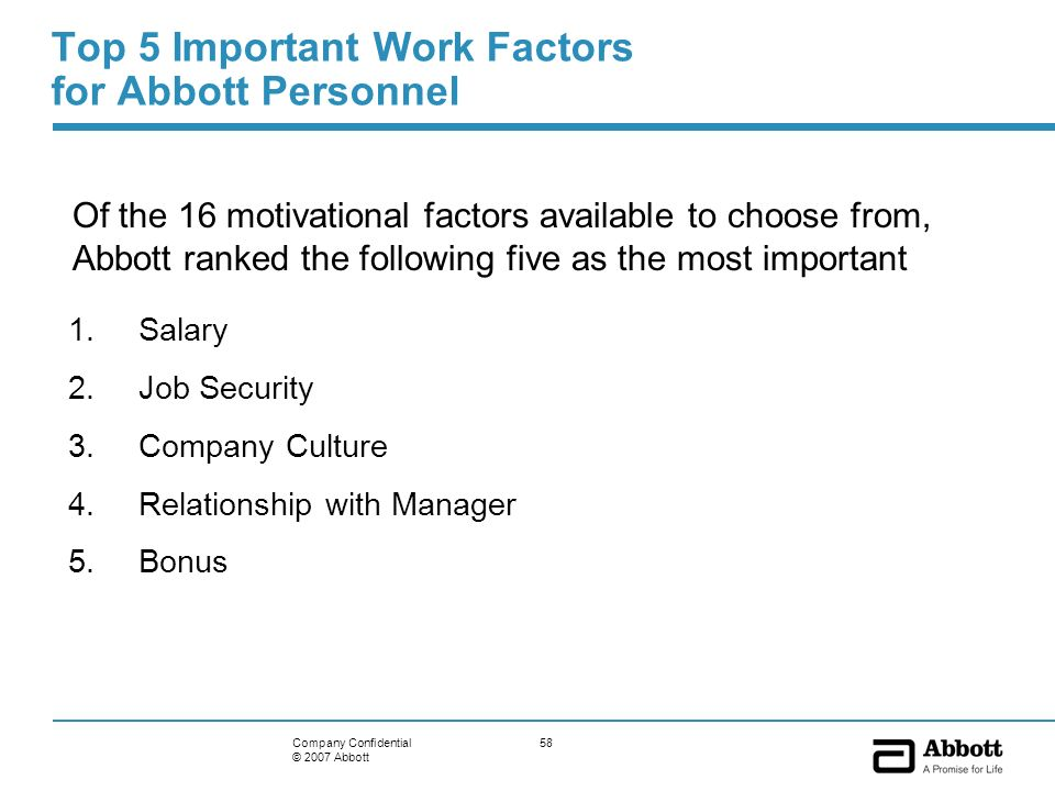 58Company Confidential © 2007 Abbott Top 5 Important Work Factors for Abbott Personnel 1.Salary 2.Job Security 3.Company Culture 4.Relationship with M