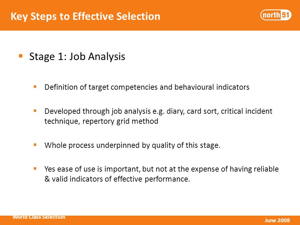World Class Selection June 2008 Key Steps to Effective Selection Stage 1: Job Analysis Definition of target competencies and behavioural indicators Developed through job analysis e.g.