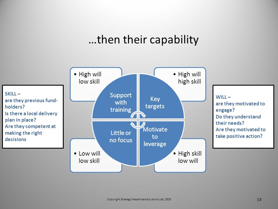 …then their capability 14 High skill low will Low will low skill High will high skill High will low skill Support with training Key targets Motivate to leverage Little or no focus WILL – are they motivated to engage.