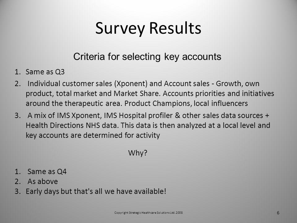 Survey Results 1.Same as Q3 2.