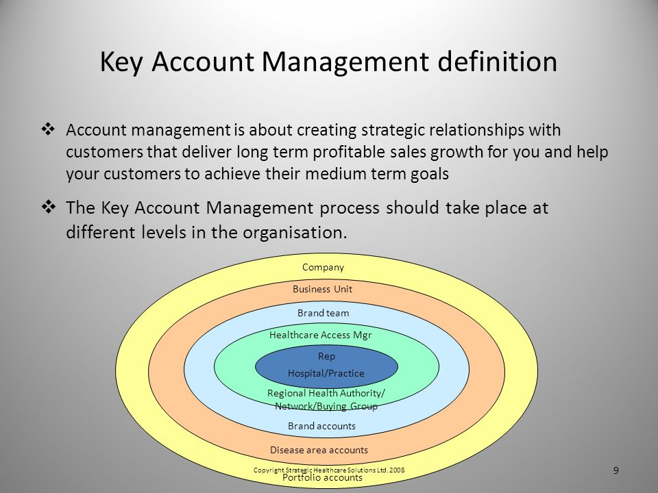 Key Account Management definition Account management is about creating strategic relationships with customers that deliver long term profitable sales growth for you and help your customers to achieve their medium term goals The Key Account Management process should take place at different levels in the organisation.