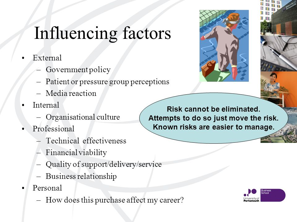 Influencing factors External –Government policy –Patient or pressure group perceptions –Media reaction Internal –Organisational culture Professional –Technical effectiveness –Financial viability –Quality of support/delivery/service –Business relationship Personal –How does this purchase affect my career.