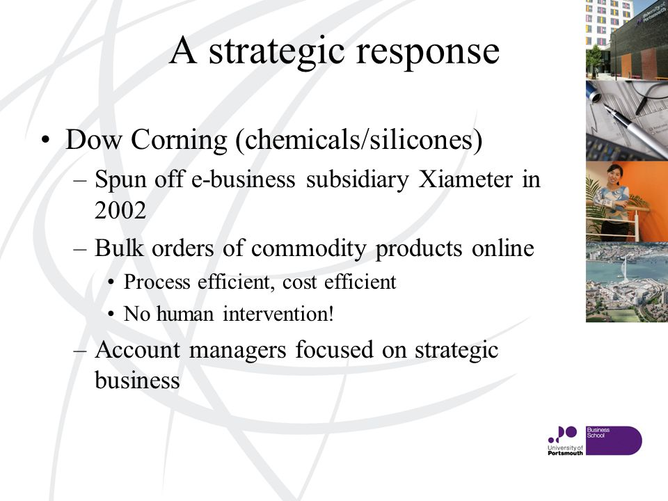 A strategic response Dow Corning (chemicals/silicones) –Spun off e-business subsidiary Xiameter in 2002 –Bulk orders of commodity products online Process efficient, cost efficient No human intervention.