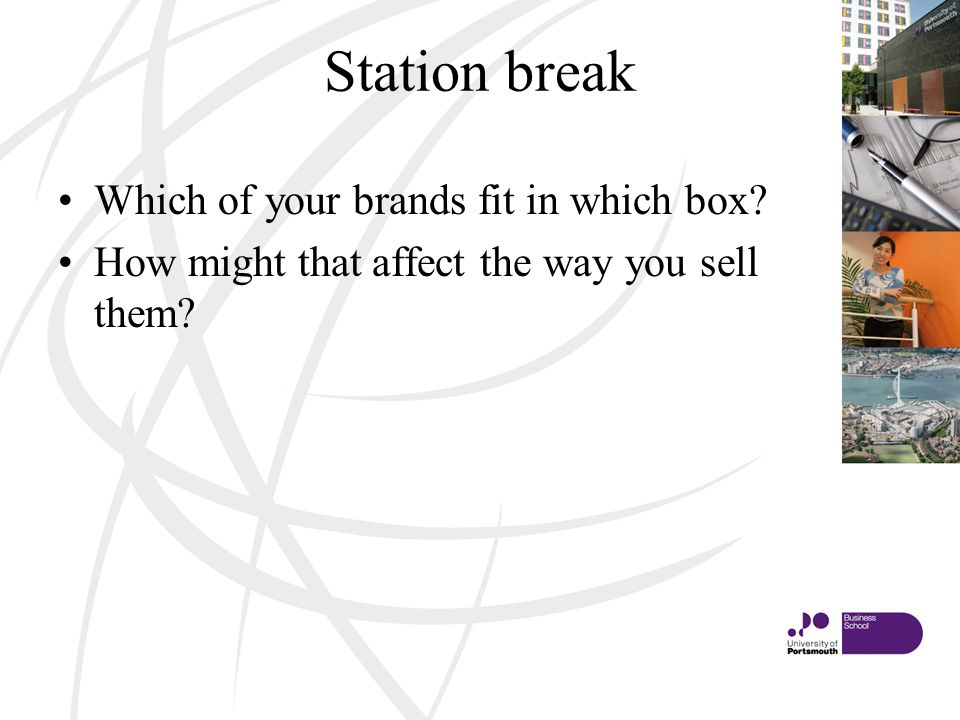 Station break Which of your brands fit in which box How might that affect the way you sell them