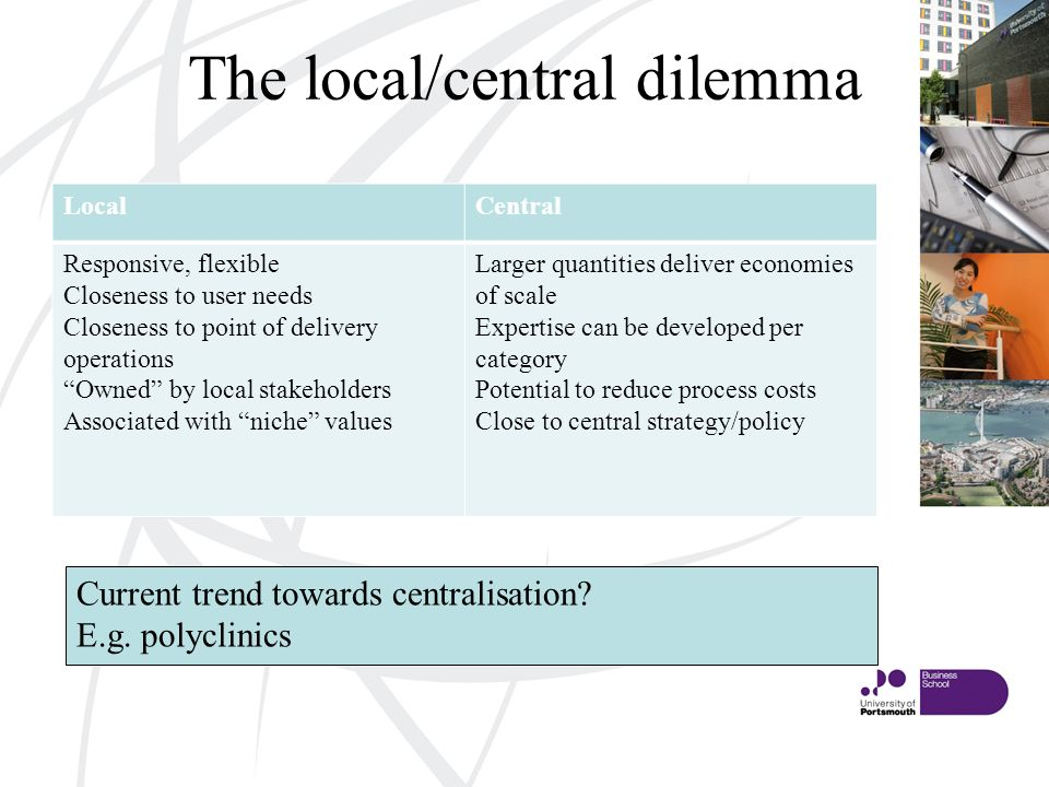 The local/central dilemma LocalCentral Responsive, flexible Closeness to user needs Closeness to point of delivery operations Owned by local stakeholders Associated with niche values Larger quantities deliver economies of scale Expertise can be developed per category Potential to reduce process costs Close to central strategy/policy Current trend towards centralisation.