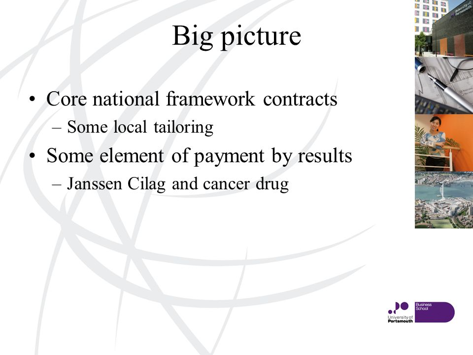 Big picture Core national framework contracts –Some local tailoring Some element of payment by results –Janssen Cilag and cancer drug