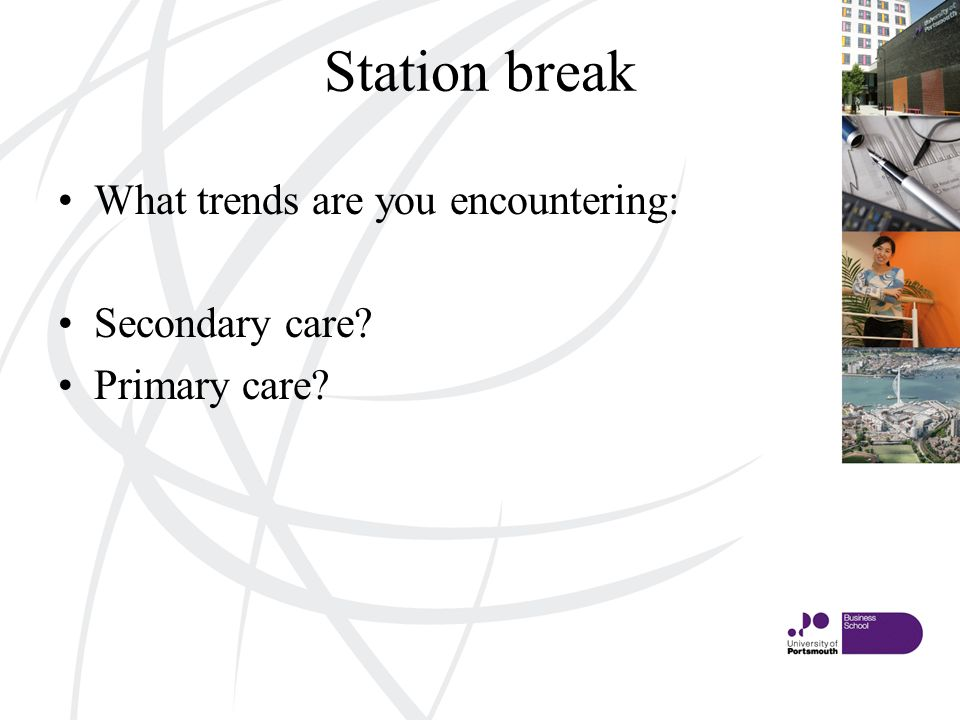 Station break What trends are you encountering: Secondary care Primary care