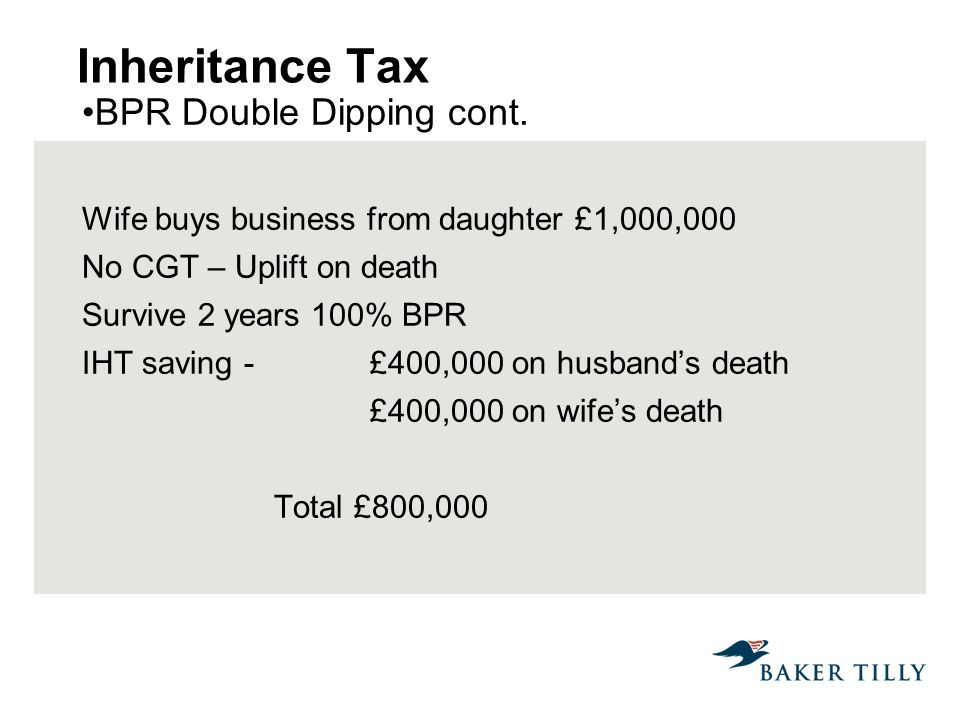 Inheritance Tax BPR Double Dipping cont.