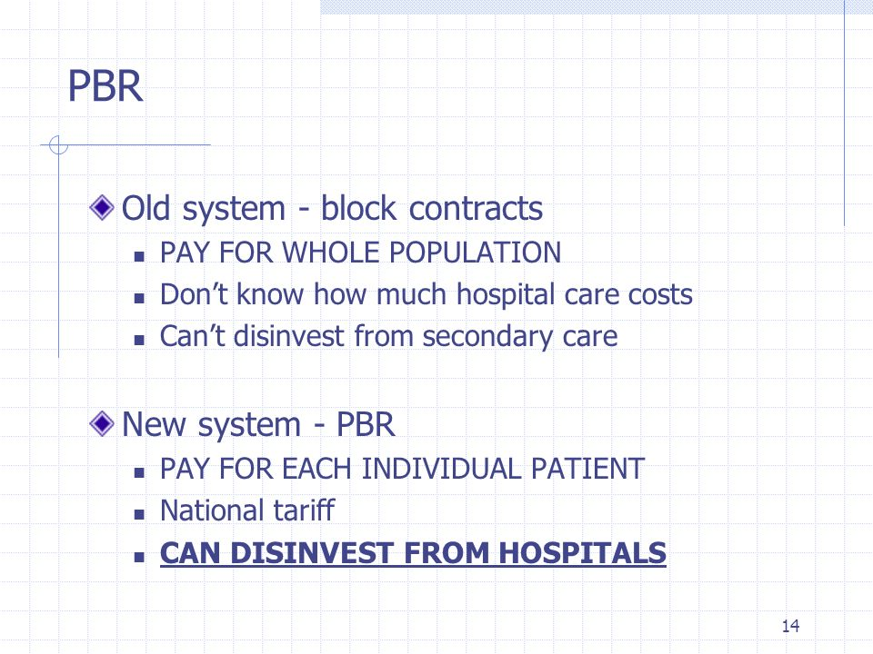 14 PBR Old system - block contracts PAY FOR WHOLE POPULATION Dont know how much hospital care costs Cant disinvest from secondary care New system - PB
