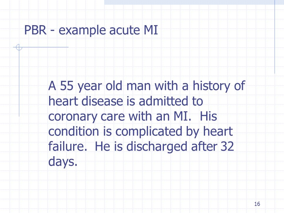 16 A 55 year old man with a history of heart disease is admitted to coronary care with an MI. His condition is complicated by heart failure. He is dis
