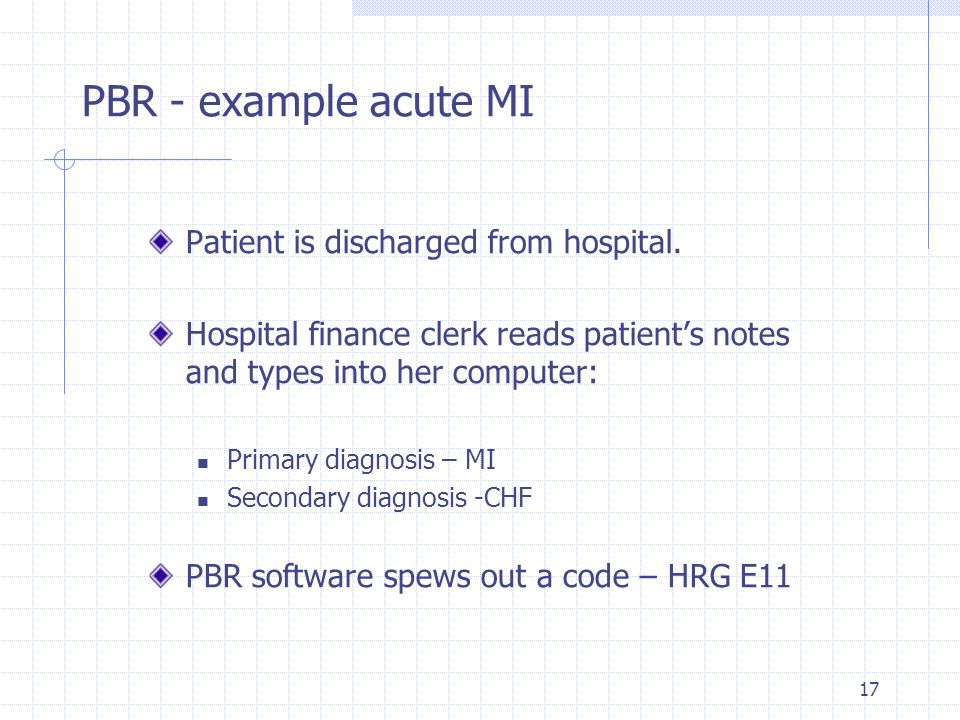 17 Patient is discharged from hospital. Hospital finance clerk reads patients notes and types into her computer: Primary diagnosis – MI Secondary diag