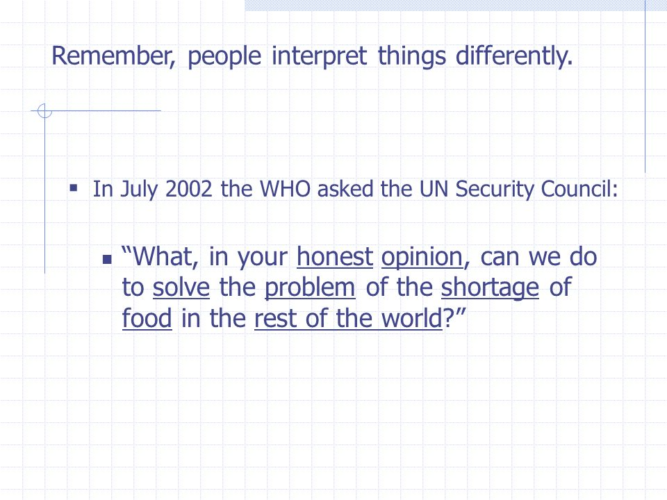 In July 2002 the WHO asked the UN Security Council: What, in your honest opinion, can we do to solve the problem of the shortage of food in the rest o