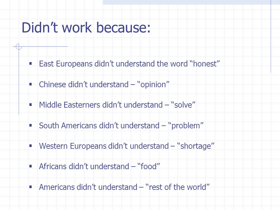 Didnt work because: East Europeans didnt understand the word honest Chinese didnt understand – opinion Middle Easterners didnt understand – solve Sout