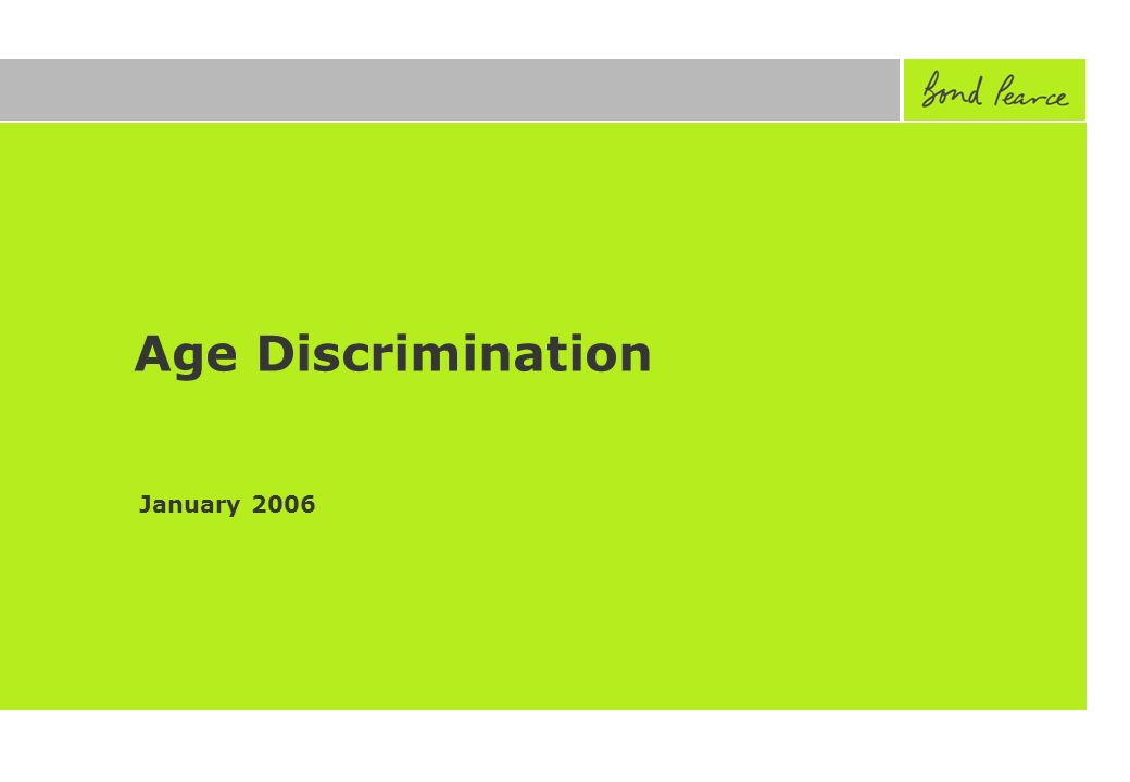 Age Discrimination January 2006